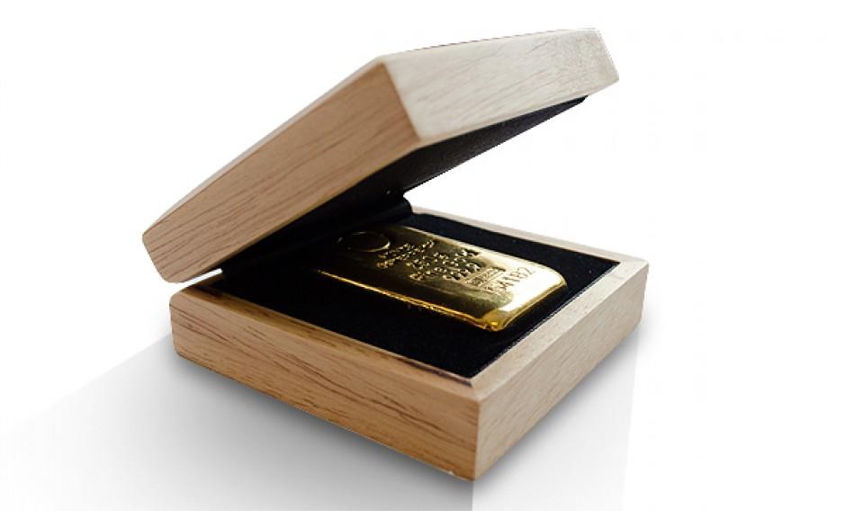 Geschenkbox aus Holz für Goldmünzen und Goldbarren